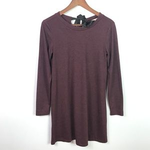 LOFT Women's Shift Dress Long Sleeve Burgundy Red